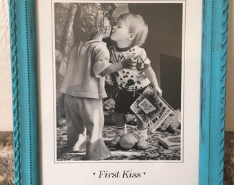 First Kiss Picture with Turquoise Shabby Chic Frame