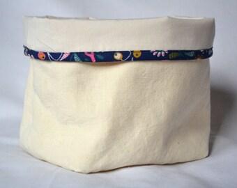 Organic cotton/hemp rigid and cotton basket bio blue off-white color with floral patterns, basket bio, empty Pocket fabric, hemp basket