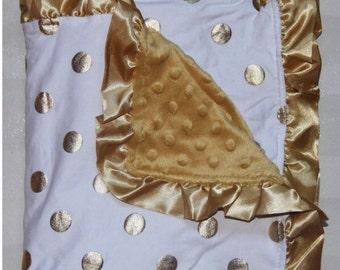 Gold dot baby blanket