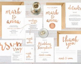 Rose gold wedding set, Rose gold wedding invitation printable, Wedding stationery, Wedding invitations Australia, Rsvp save the date