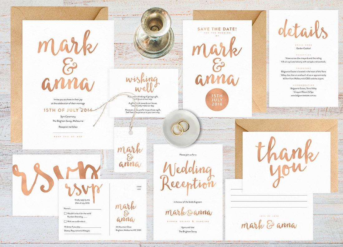 Rose gold wedding set, Rose gold wedding invitation printable, Wedding stationery, Wedding invitations rose gold, Rsvp save the date