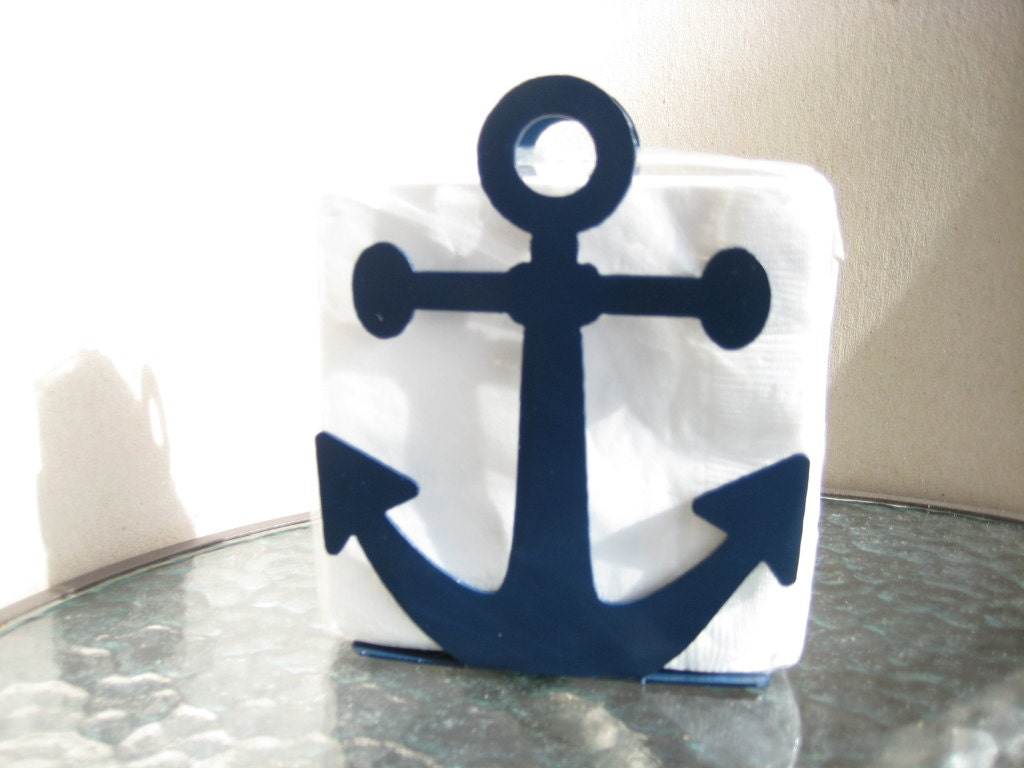 Anchor Napkin Holder Letter Holder Blue Nautical Decor