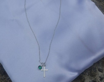 ON SALE -20% Tender necklace with a delicate cross and a birthstone of your choice