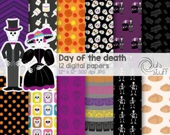 Day of the death digital paper, catrina, calaveritas de azúcar, calaca, pan de muerto, veladora, flor de cempasúchil, altar de muertos