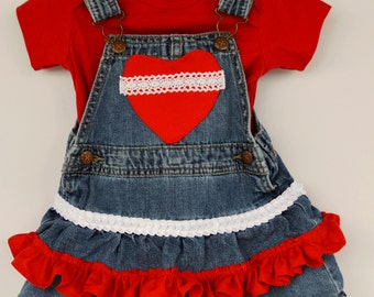 Baby Girl Size 12 Months is Cute as can be in Re-Designed Dress, Osh Kosh Denim Jumper - Ruffles, Lace & Sweetheart Embellishment