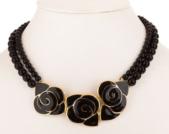 Balenciaga Black Enamel Flower Necklace