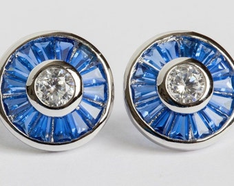 Blue Baquette and Clear Cubic Zirconia Sterling Silver Earrings
