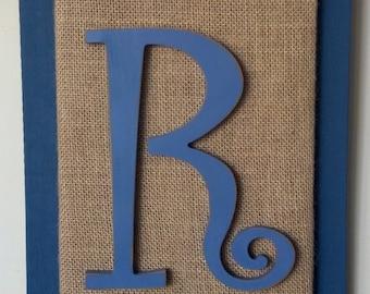Initial R Burlap Pallet Art Repurposed Wood Rustic Wall Hanging