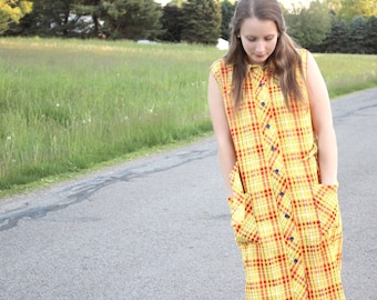 Red and Yellow Plaid Vintage Dress