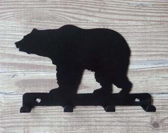 Bear Standing Silhouette Key Hook Rack - metal wall art