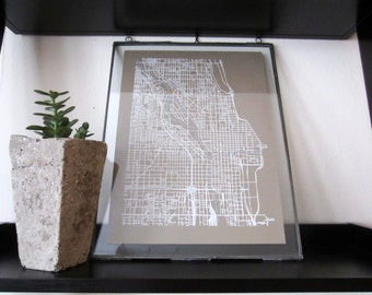 Chicago Street Grid Map - White on Sable Brown