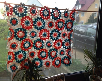 Crochet flower curtain curtain