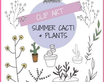 Summer Cacti & Plants Clip Art Illustrations, Digital Download Clip Art, Cactus Clip Art, Nature Illustrations
