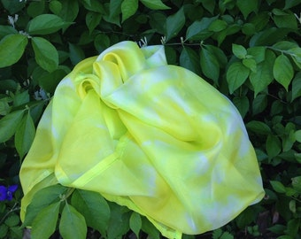 Hand Dyed Play Silk - Yellow and White - Dandelions - Sunbursts