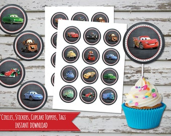 Cars Cupcake Toppers Chalk 2 Inch Circles, Stickers, Disney Cars Cupcake Toppers, Tags, Labels INSTANT DOWNLOAD