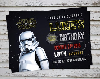 Star Wars Invitation, Darth Vader Party Invitation, Stormtrooper Invitation, Star Wars Birthday Invite DIGITAL FILE