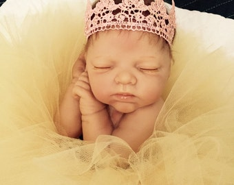 Charlotte Pink Lace Crown Headband, Pink Lace Crown Headband, Lace Crown Headband, Crown Headband, Birthday Crown, Photo Prop