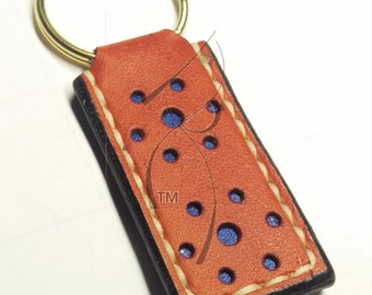 Tan & Blue Leather Key Chain
