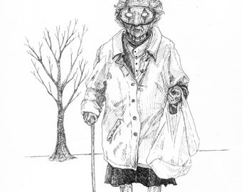 Old Witch in a Mask, Blank Halloween Greeting Card