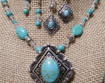 Turquoise Necklace and Earring Set, Necklace and Earring Set, Rodeo Jewelry, Cowgirl Jewelry, Cowgirl Necklace and Earring Set,
