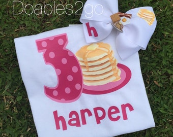 Pancake Birthday Number Shirt/ Matching Bow/ Breakfast/ Pancake Number Shirt/ Girls Birthday/ Pancakes
