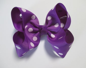 Baby/Toddler/Girl/Adult 4 Inch Boutique Hair Bows on Lined Alligator Clip - Purple with White Spots