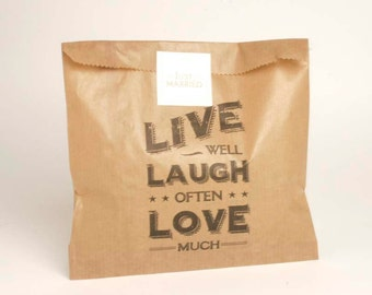 East of India Live Well Paper Bags, Favour Bags, Favor Bags, Treat Bags, Gift Bags, Paper Bags, Kraft Bags, Live Well Laugh Often Love Much