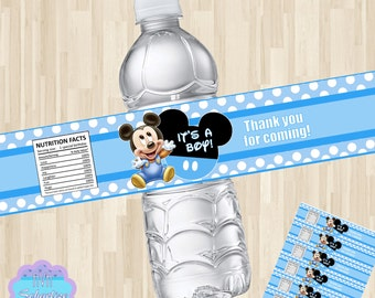 Baby Mickey Mouse Water Bottle Label, Baby Shower Water Bottle Wrapper PRINTABLE