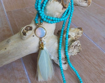 Beach necklace, Boho chic necklace, Bohemian necklace, Tassel necklace, Feather necklace, bohemian long necklace