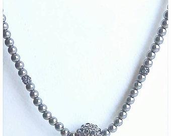 Charcoal Pearl Choker with Swarovski Crystal Ball and Swarovski Accents