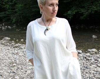 White linen tunic Linen blouse Linen tunic with long  Plus size linen tunic Boho linen tunic White linen shirt Long sleeves Linen clothing