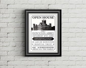 Downton Abbey Open House Poster as seen in Season 6 Episode 6 (sized 11x17)