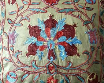 Suzani pillow cover from Uzbekistan.