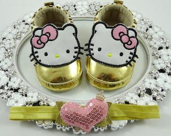 Baby Girl Sneaker/Shoe Headband Set, Newborn Baby Girl Shoes, Baby Accessories, Shower Gift, Gift for Baby