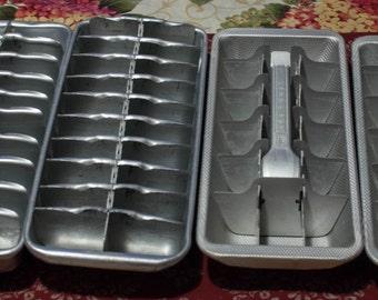Vintage Aluminum Ice Cube Trays, Set of 4 Mid Century Primitive