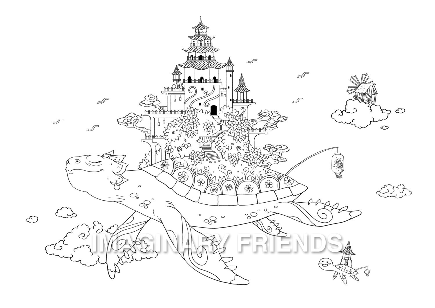 Turtle Temple Coloring Page A4 size 210 297mm / A3 size
