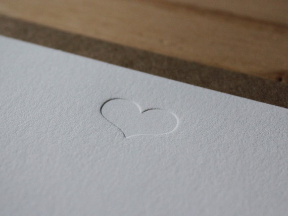 Heart - Blind Impression Flat Letterpress Greeting Card / Note Card