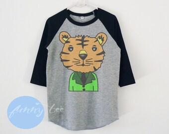 Tiger tshirt toddlers children raglan shirt for kids boy girl clothing gift ideas