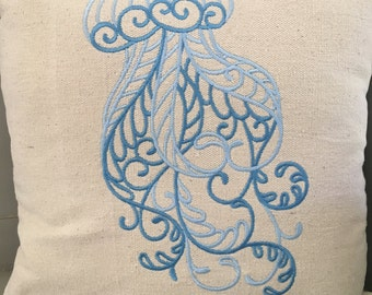 Embroidered octopus pillow on canvas fabric