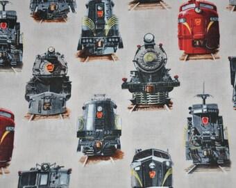 New! 1/2  Yard of Locomotive - Train - Steam Engines 100% Cotton Quilt Fabric by Elizabeth's Studio
