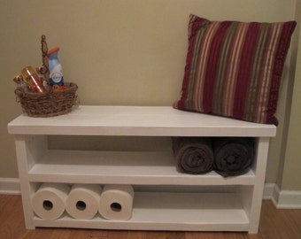 Handmade Wood Bench with Shelves