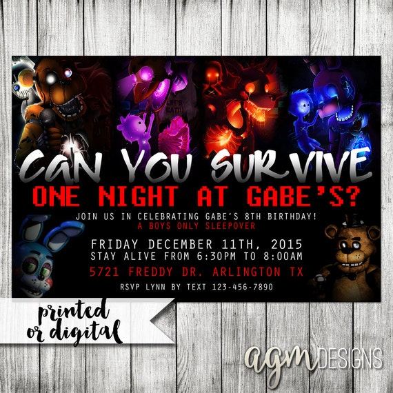 Five nights at freddys invitation five nights at freddys birthday 5