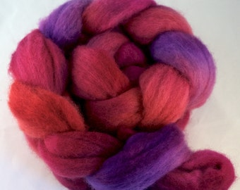 Hand Dyed Spinning fiber top, hand dyed wool, wool roving, Blue Faced Leicester, purple, pink, 100g