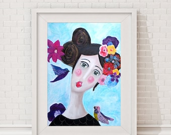 """girl with flowers, bird, romantic picture, reproduction of an original acryl painting, Poster, Giclee Art Print, portrait, """"Flowergirl"""", art"""
