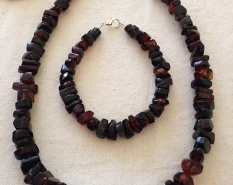 necklace and bracelet red amber