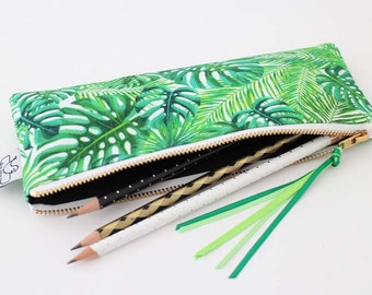 Tropical pencil case//Tropical pencil pouch//Pencil case//Pencil pouch//School supplies//Original ANJESY Designs.