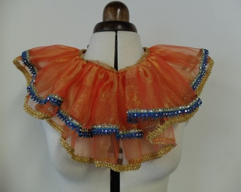CLOWN NECK RUFFLE - Orange with blue and gold trim