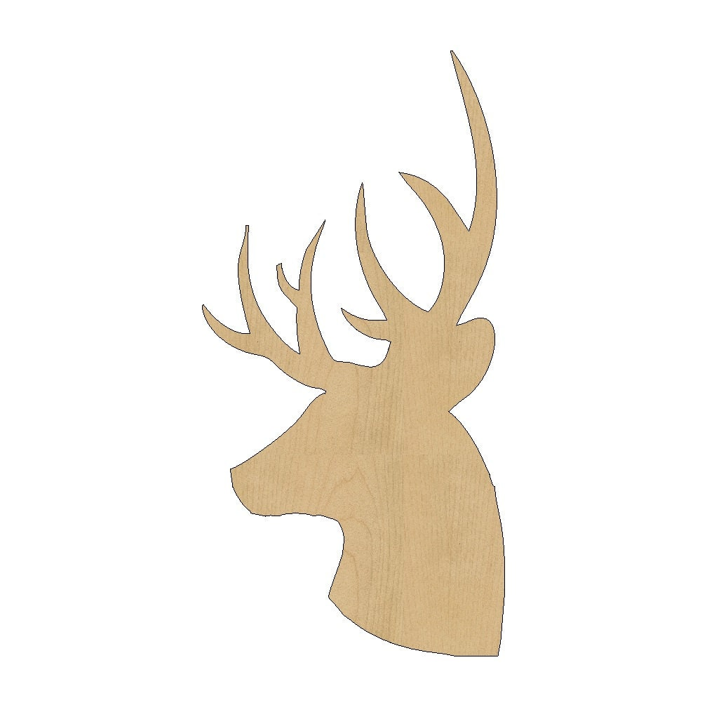 Deer head cutout shape laser cut unfinished wood shapes craft for Templates for wood cutouts