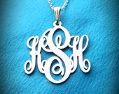 Mongram Pendant Silver Anniversary Gifts Monogram Necklace Mongram Neckalce Birthday Gifts Monogrammed Gift Monogram Monogam Necklace