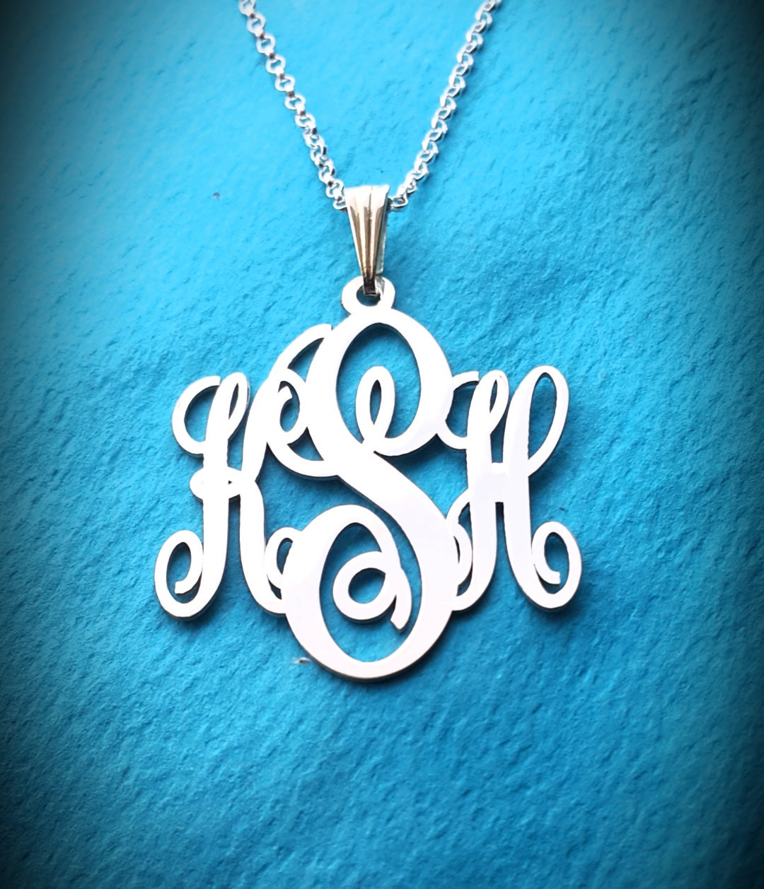 tiny monogram necklace white gold holiday gift small monogram. Black Bedroom Furniture Sets. Home Design Ideas